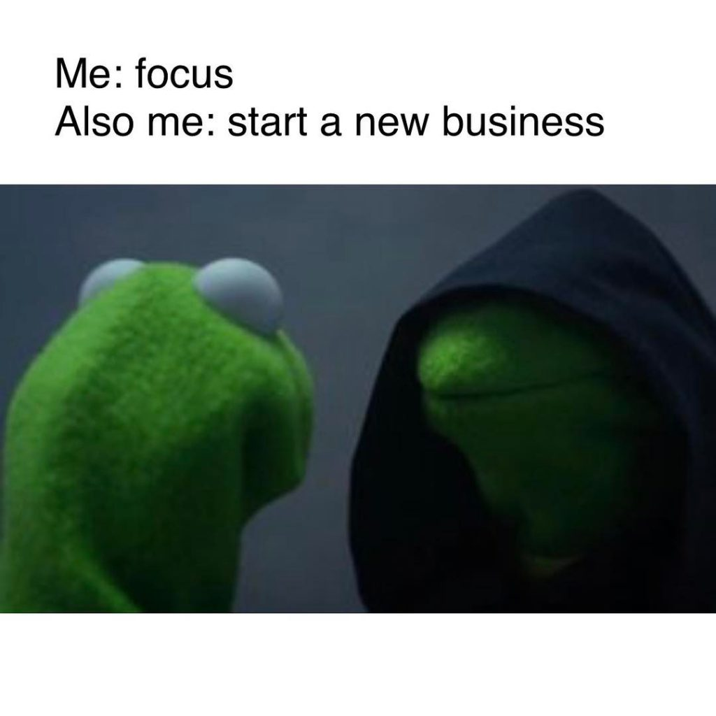 kermit the frog talks to himself about starting a new company